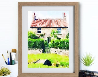 Country Cottage Watercolour Print | Farm House Style Print | Framed or Unframed | Country Art | Rural Watercolour Art | At Fox Place Print