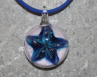 Lampwork Glass Starfish Pendant Necklace Ocean Blues