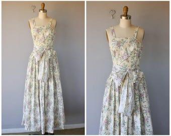 Vintage 1940s Maxi Dress | 40s Dress | 1940s Gown | 1940s Cotton Dress | 1940s Floral Dress - (xxs to xs)