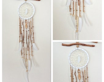 Dream Catcher Wind Chime. White leather, dove feathers, opalite and jasper beads. For Meditation/Zen space, Wall hanging or window decor