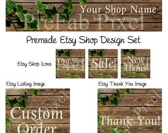 Etsy Banner Set, Wood Etsy Cover Banner, Ivy Etsy Shop Banner, Rustic Shop Banner, Vine Shop Banner, Wooden Etsy Banner, Leaf Shop Banner