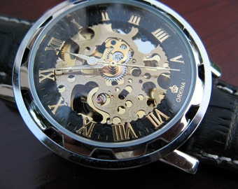 Elegant Luxury Mechanical Wrist Watch, Black & Gold, All Black Leather band, Engraved Watch, Automatic Watch - Item MWA08
