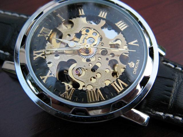 Elegant Luxury Mechanical Wrist Watch, Black & Gold, All Black Leather band, Engraved Watch, Automatic Watch - Item MWA08