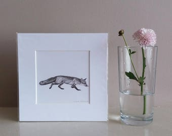 fox mini print | miniature fox print | fox illustration | fox drawing