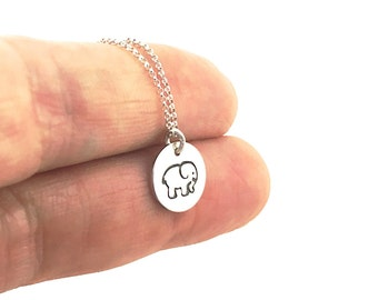 Elephant Necklace - Sterling Silver Elephant Necklace - Elephant Totem - Elephant Jewelry - Sterling Silver Charm Necklace - Elephant Lover
