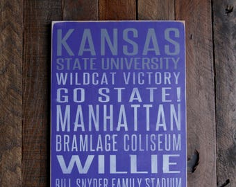 Kansas State University Wildcats Distressed Wood Sign-Great Father's Day Gift!