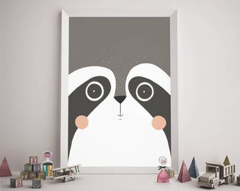 black and white print for nursery, raccoon print, raccoon wall art, raccoon gift, raccoon nursery art, raccoon home decor,raccoon wall decor