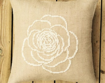 Needlepoint kit ROSE,handmade,burlap,hessian,scandinavian,cross stitch,needlepoint,embroidery,throw pillow,cushion,diy,linen,anette eriksson