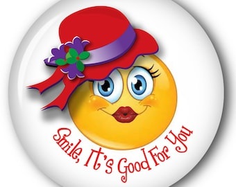 """Qty 6 SMILE It's Good For You,  Smiley Face 3"""" Pin Back Button For The Red Hat Society Ladies"""