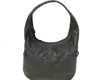 Gray Leather Bag, Hobo Bag w/ Pockets, Slouchy Leather Hobo Bags, Casual Purse, Handmade Handbags, Bags and Purses, Women Bags, Aly