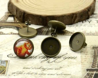 10pcs(5pairs) Antique Solid Brass Earring Posts With Round 14mm Pad