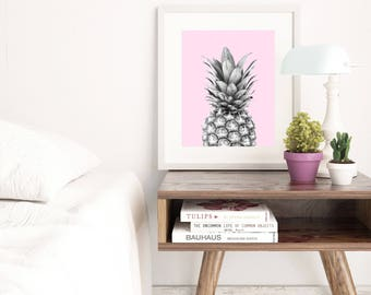 Printable pineapple wall art, pink background black and white pineapple poster, pineapple photography, digital download pineapple printable