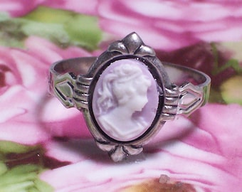 Small Cameo Ring, Lavender Cameo Ring, Adjustable Rings, Cameo Rings