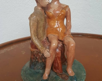 Handmade ceramic statuette,romantic,author URUSSO 88 item from 1993 perfectli preserved vintage not bruised or clipped decor art house decor