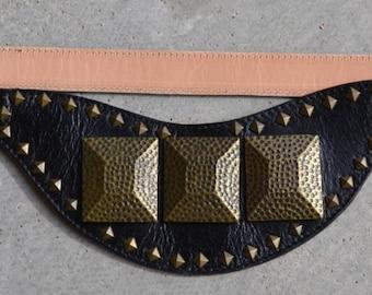 Ladies Black & Antique Brass Studded Belt
