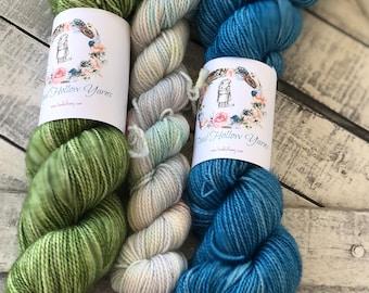 Hand dyed yarn,Mitten/Fingerless Mitt Kit #6,Indie Dyed Yarn,gift for yarn lovers,50 gram Mini Skeins,Mitten/Mitt kit - pattern not included