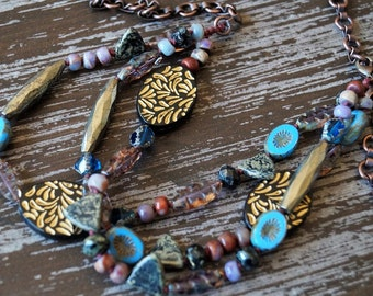 Unlisted - Boho Necklace - Beaded Knotted Necklace - Multi Strand Necklace - Blue and Purple - Rustic Necklace - Bead Soup Jewelry