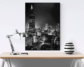 New York City at Night Photo, Empire State Building, 1937, Black White Photography Print, Wall Art, Poster Art, NYC Art