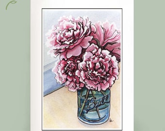 Peonies - Set of 6 Note Cards