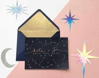 Constellation Wedding Invitations, Night Sky Save the Dates, Navy Silver Wedding Invites, Celestial Wedding Stationery, Star Save the Date
