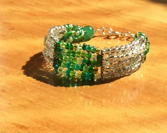 Green and clear glass bead multi-strand bracelet