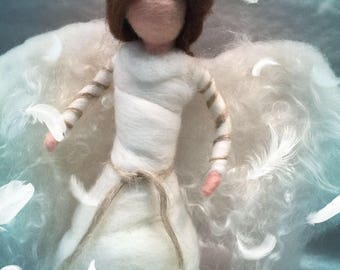 Angel tree topper, needle felted angel, Christmas decor, felted nativity, nativity figurine, felted angel ornament, felted angel decor, Xmas