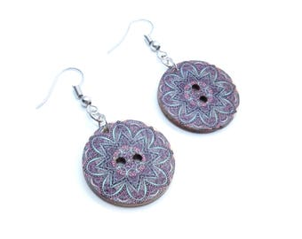 Purple Mandala Wood Button Dangle Earrings