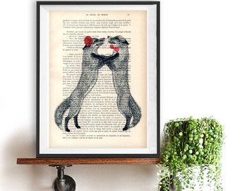 Dancing Tango Fox Illustration, recycled book print, love print, dictionary print, fox art, vintage wall art, decoration, anniversary gift