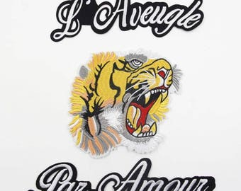 A Set of Tiger Embroidered Patch ,Tiger Applique with Letters  for Garment,Large Tiger applique patch, iron on or sew on embroidery
