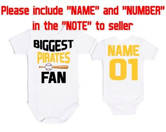 BIGGEST Pittsburgh Pirates fan MLB, Baby Vest Baby Bodysuit Funny Baby Child One Piece boy's girl's Clothing girl Kid's Shower Bodysuits Top