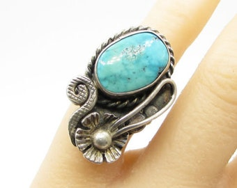 925 silver - jerry & wilma begay vintage navajo turquoise ring - r1026