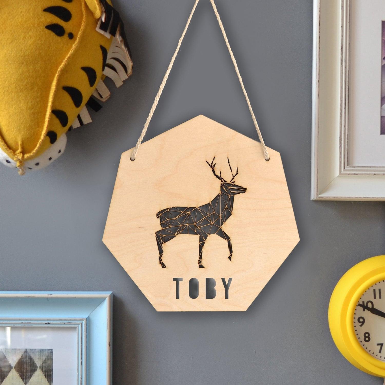 Personalised Geometric Stag Sign Woodland Animal Deer