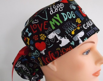 Love My Dog Ponytail - Womens lined surgical scrub cap, scrub hat, nurse surgical hat, 54-900b