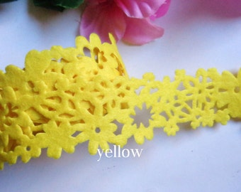 1.5 Inch wide Floral Felt Ribbon yellow price for 1 yard