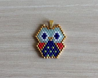 "Miyuki Delicas beads pendant ""OWL origami"""