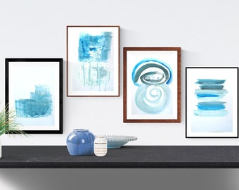 abstract painting original, blue, Wall Art, white