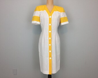 Summer Day Dress Color Block Dress Short Sleeve Button Up Dress Bright Yellow Lemon Collarless Size 8 Dress Medium Womens Clothing Vintage