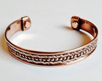 Magnetic Copper Cuff Adjustable Bracelet Two-tone Ornament, Arthritis Natural Cure