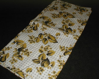Vintage Gold Floral Leaf pattern MATERIAL wBlack on cream background grey diamonds 1 Yard FABRIC very 1930's 1940's sewing crafts Decor