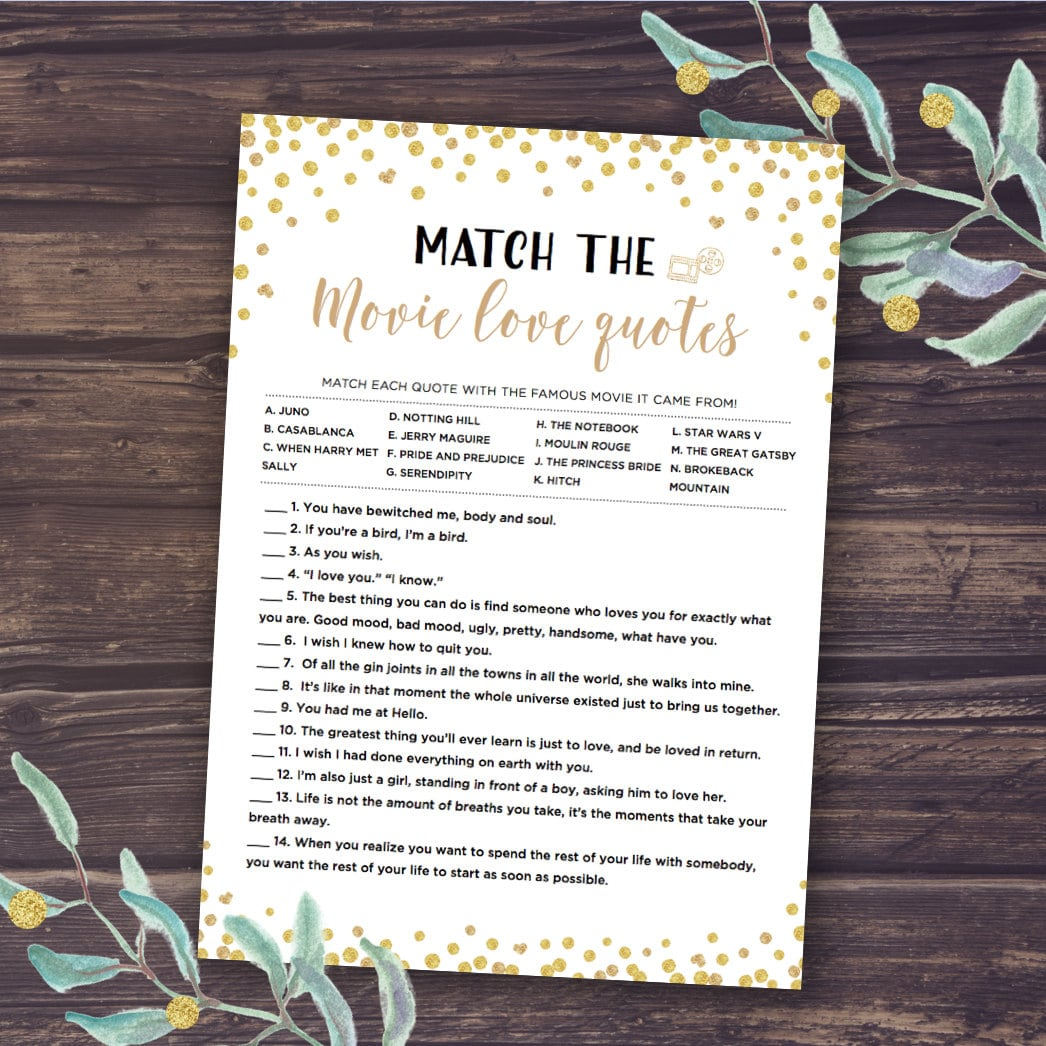Gold Bridal Shower Games Match the Romantic Movie Love Quotes