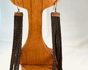 Handmade Earrings, Black Fringe Leather, Copper Accent on Copper French Wire