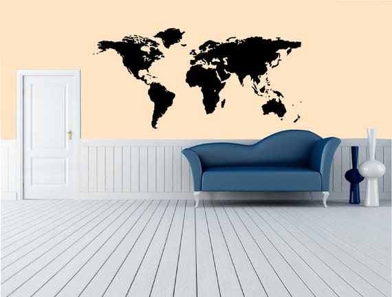 World map decal true proportional size world map large wall gumiabroncs Gallery