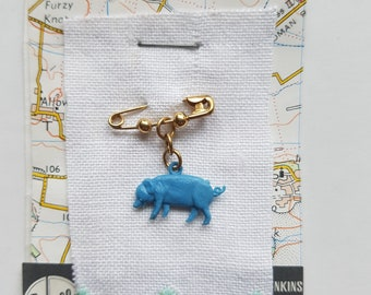 OOAK - Collar Pin - Little Blue Pig - Lapel Pin - Vintage 1950s Cracker Charm - Childish Jewellery - Recycled Jewelry - Kitsch - Safety Pin