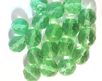 Vintage Sparkling Green Multifaceted Glass Beads