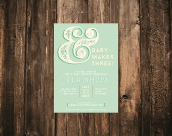 Baby Makes Three Baby Shower Invitation // 5x7 - Printed Set of 10 // Baby Shower, Modern Baby Shower, Typography Invitation