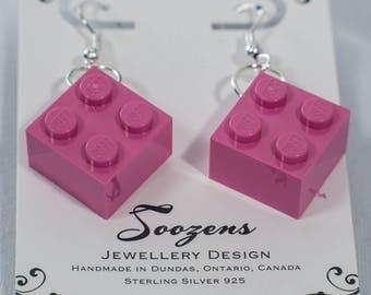 Lego Brick Earrings, stud square brick earrings, many colours available