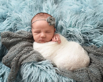 SET White Sunflower and Pewter Mohair Knit Baby Wrap and Headband Newborn Photography
