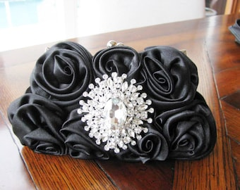 wedding clutch, bridal clutch, wedding purse, bridal purse, satin bridal clutch,  bridal accessories, Black Fabric Wedding