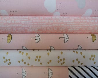 Pink, When Skies are Blue Fabrics by Riley Blake, Rag Quilt Kit, Easy to Make, Personalized, Bin N, Sewing Available