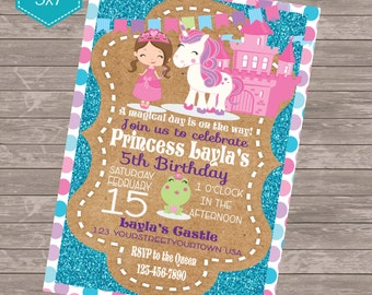 Princess and Unicorn  pink and teal glitter invitation Digital Birthday invitation 5 x 7 printable personalized invitation